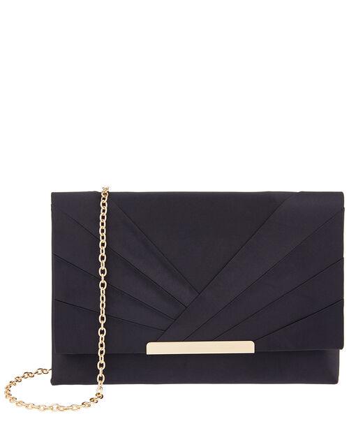 Satin Clutch Bag, Blue (NAVY), large