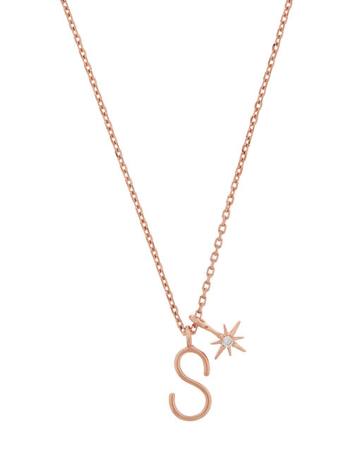 Rose Gold-Plated Initial Star Necklace - S, , large