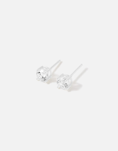Sterling Silver Solitaire Earrings, , large