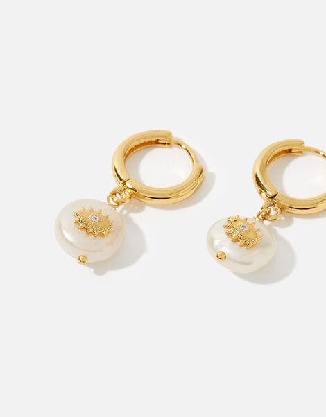 Gold-Plated Pearl Eye Huggie Hoops, , large
