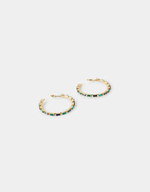 Baguette Gem Hoop Earrings, , large