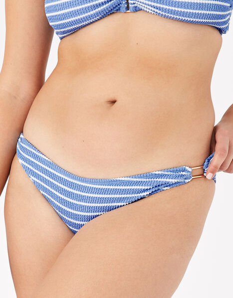 Stripe Textured Bikini Briefs Blue, Blue (BLUE), large