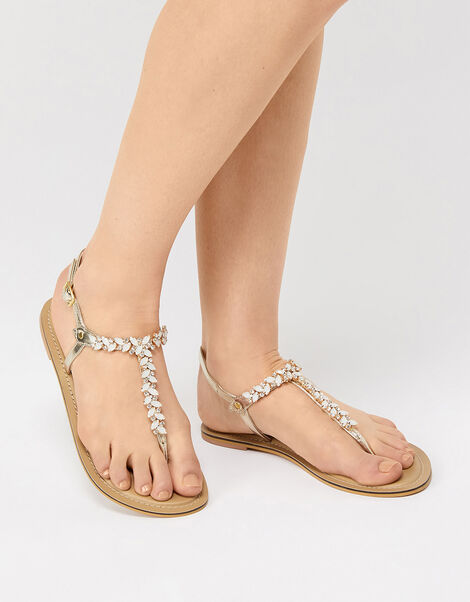 Penny Gem and Diamante Sandals Cream, Cream (PEARL), large