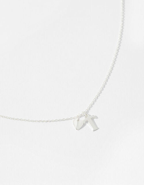 Sterling Silver Heart Initial Necklace - T, , large