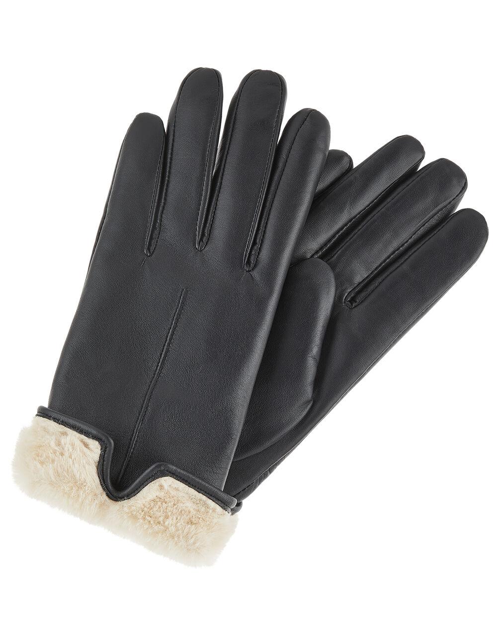 Faux Fur Leather Gloves, Black (BLACK), large