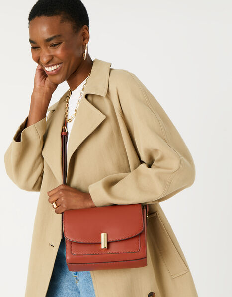 Abigail Turn Lock Cross-Body Bag  Orange, Orange (RUST), large