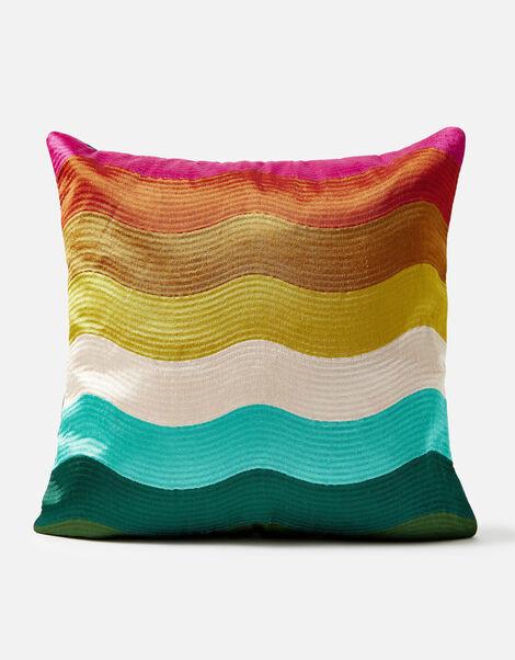 Rainbow Wave Embroidered Cushion, , large