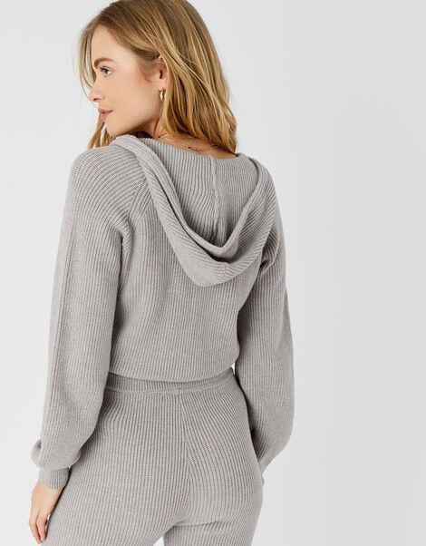 Ribbed Knit Lounge Hoody  Grey, Grey (LIGHT GREY), large
