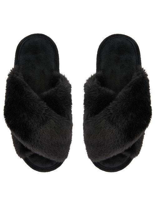 Fluffy Peep-Toe Slipper Sliders, Black (BLACK), large