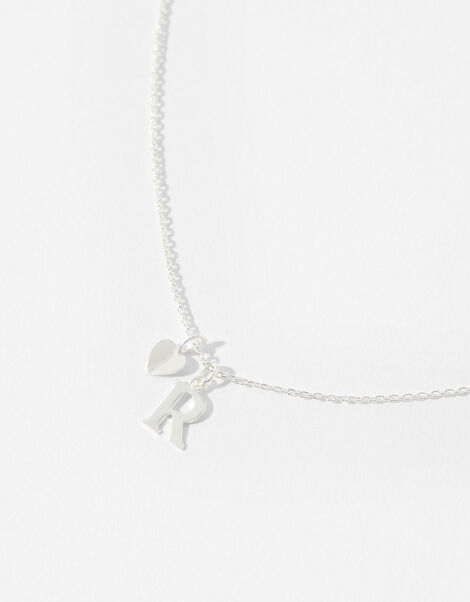 Sterling Silver Heart Initial Necklace - R, , large