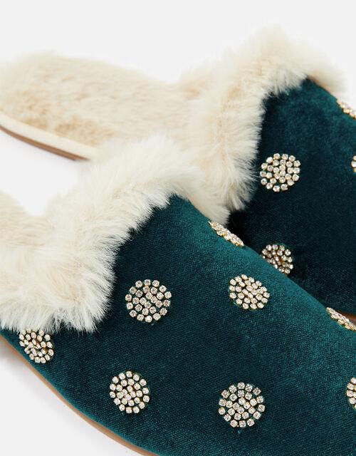 Embellished Spot Velvet Slippers, Teal (TEAL), large