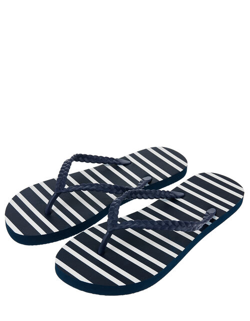 Nautical Stripe EVA Flip Flops, Blue (NAVY), large