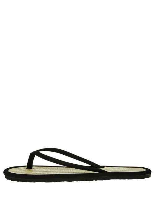 Plain Black Seagrass Flip Flops, Black (BLACK), large