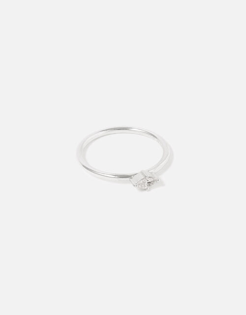 Sterling Silver Navette Single Band Ring, Silver (ST SILVER), large
