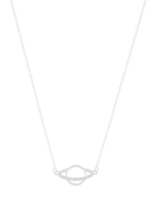 Sterling Silver Sparkle Planet Necklace, , large