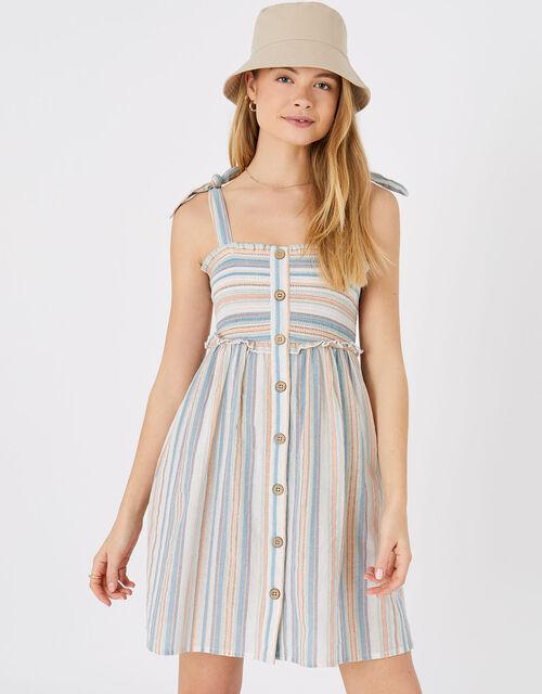 Stripe Button Bandeau Dress, Multi (PASTEL-MULTI), large