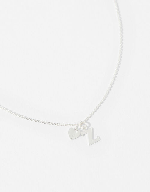 Sterling Silver Heart Initial Necklace - Z, , large