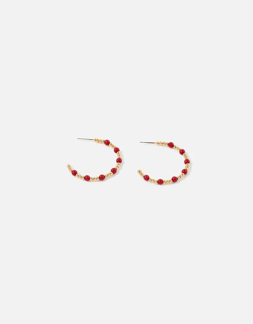 Berry Blush Beaded Hoops, , large