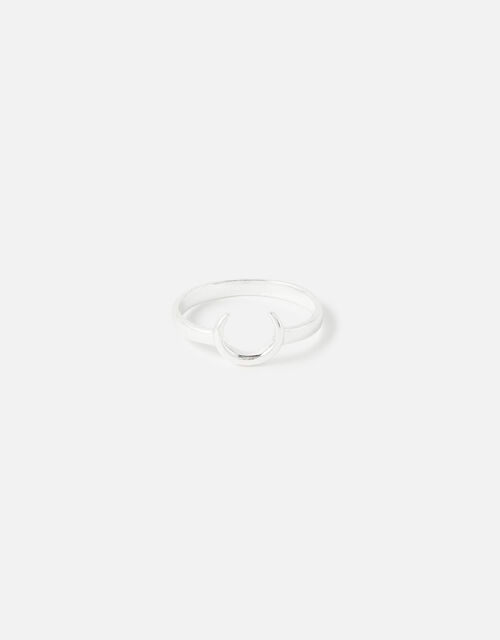 Sterling Silver Horn Ring , Silver (ST SILVER), large