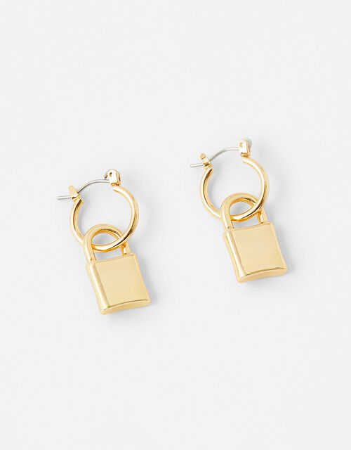 Padlock Huggie Hoop Earrings, , large