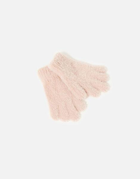 Girls Fluffy Gloves  Pink, Pink (PINK), large