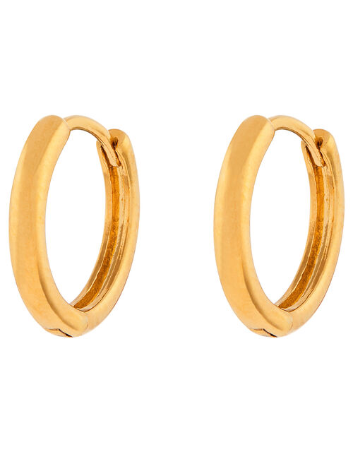 Gold-Plated Plain Huggie Hoop Earrings, , large