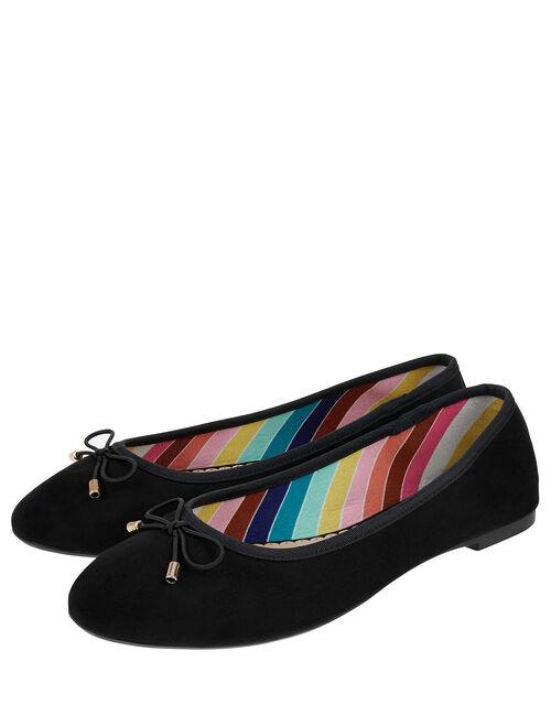Ballerina Flats with Rainbow Lining, Black (BLACK), large