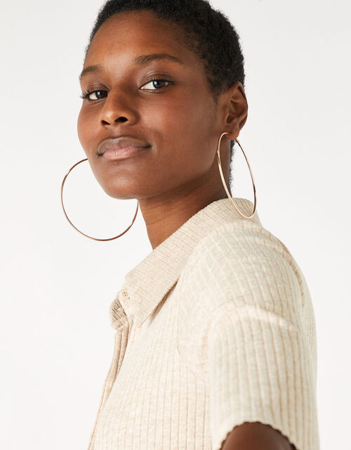 Large Simple Hoop Earrings, , large