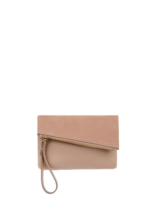 Leather Folded Pouch Bag, , large