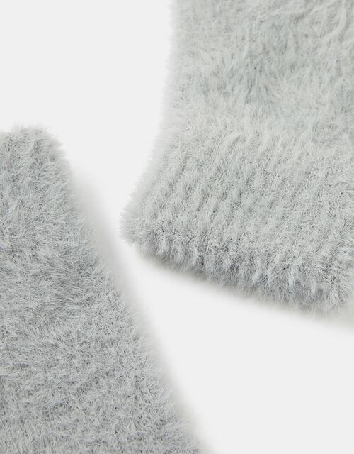 Super-Stretch Fluffy Knit Gloves, Grey (LIGHT GREY), large