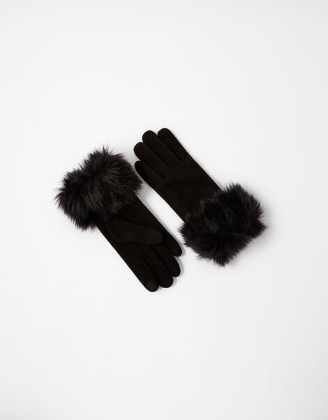 Faux Fur Cuff Touchscreen Gloves Black, Black (BLACK), large