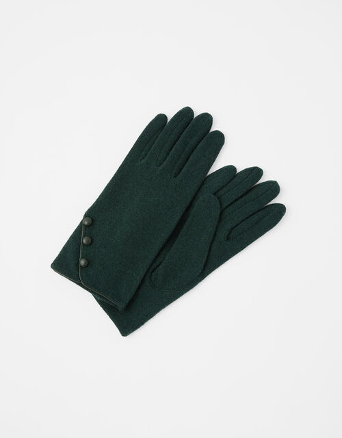 Button Gloves in Wool Blend, Green (GREEN), large