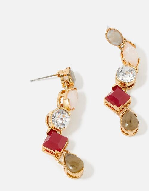 Berry Blush Mix Stone Earrings, , large