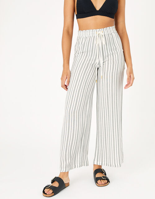 Textured Stripe Beach Trousers, Black (BLACK/WHITE), large