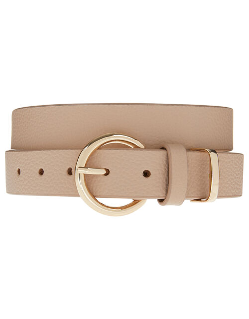 Round Buckle Leather Belt, Pink (PINK), large
