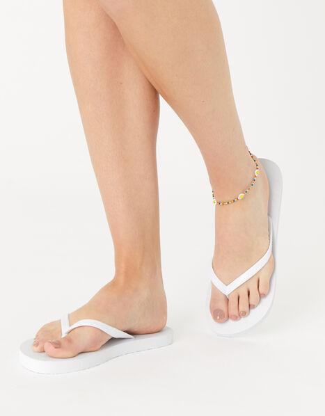 Plain Flip Flops White, White (WHITE), large