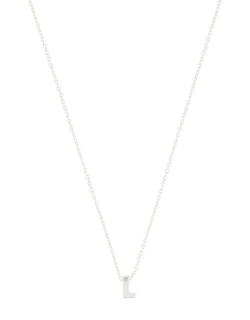 Sterling Silver Sparkle Initial Necklace - L, , large