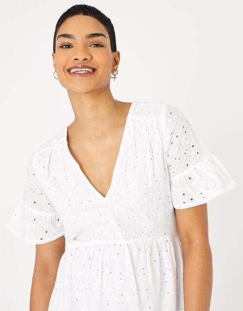 Schiffly Mini Dress, White (WHITE), large