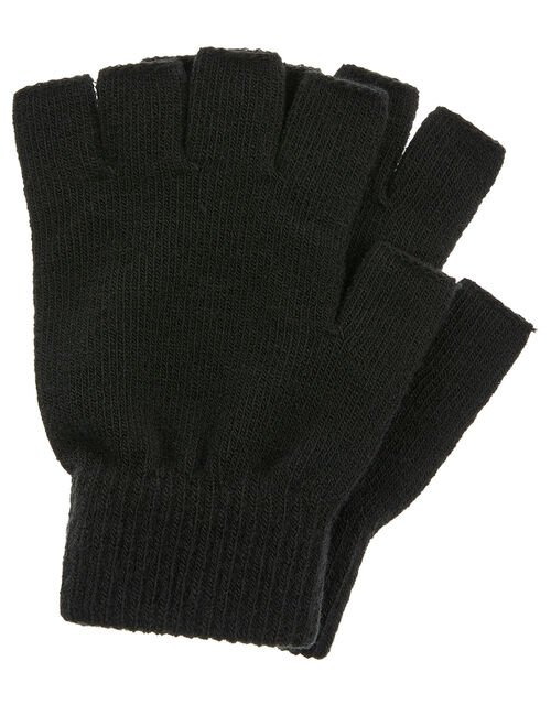 Plain Fingerless Gloves, Black (BLACK), large