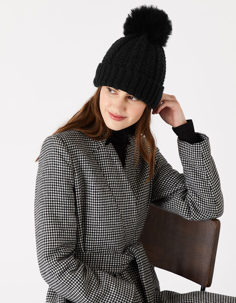 Chunky Knit Pom-Pom Beanie Black, Black (BLACK), large