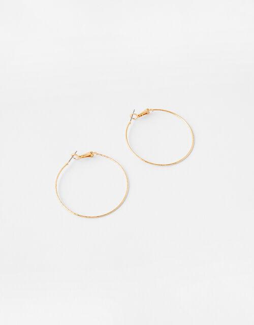 Fine Facet Hoop Earrings, Gold (GOLD), large