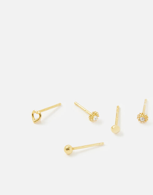 Gold-Plated Sterling Silver Mixed Stud Set, , large