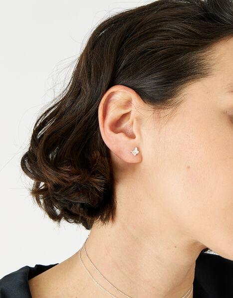 Sterling Silver Butterfly Stud Earrings , , large