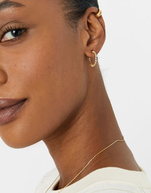 Gold-Plated Pave Crystal Hoops , , large