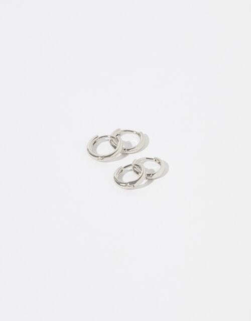Platinum-Plated Hoop Earring Set, , large