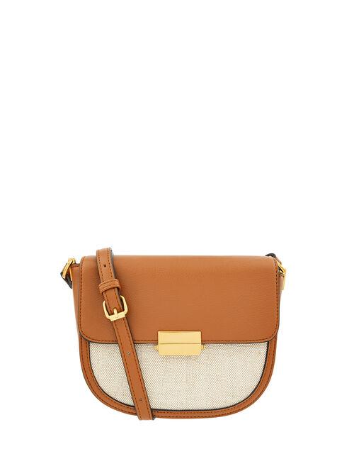 Linen Panel Cross-Body Bag, Tan (TAN), large