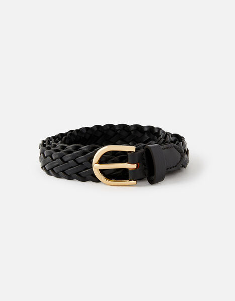 Plaited Weave Leather Belt  Black, Black (BLACK), large