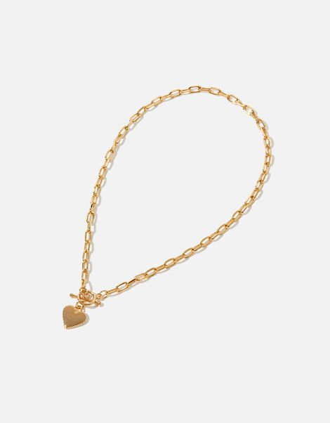 Gold-Plated Heart Chunky Collar Necklace, , large