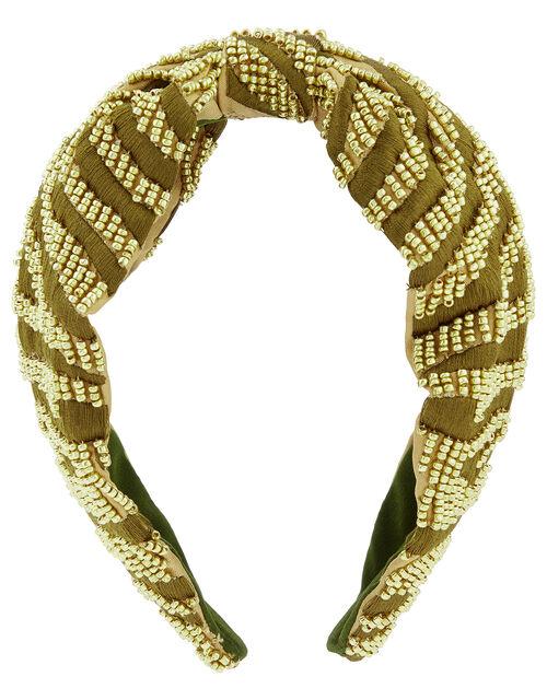 Zebra Beaded Knot Headband, , large