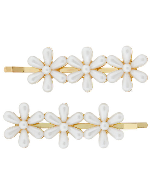 Pearly Flower Hair Slide Set, , large